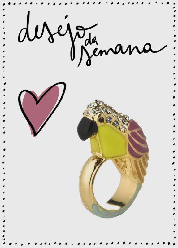 Desejo da semana anel papagaio Accessorize