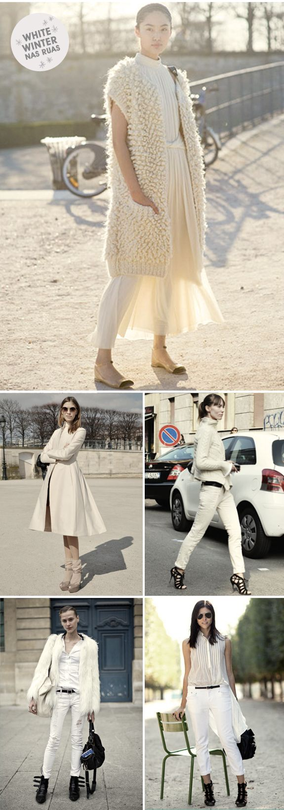 Looks total white street style