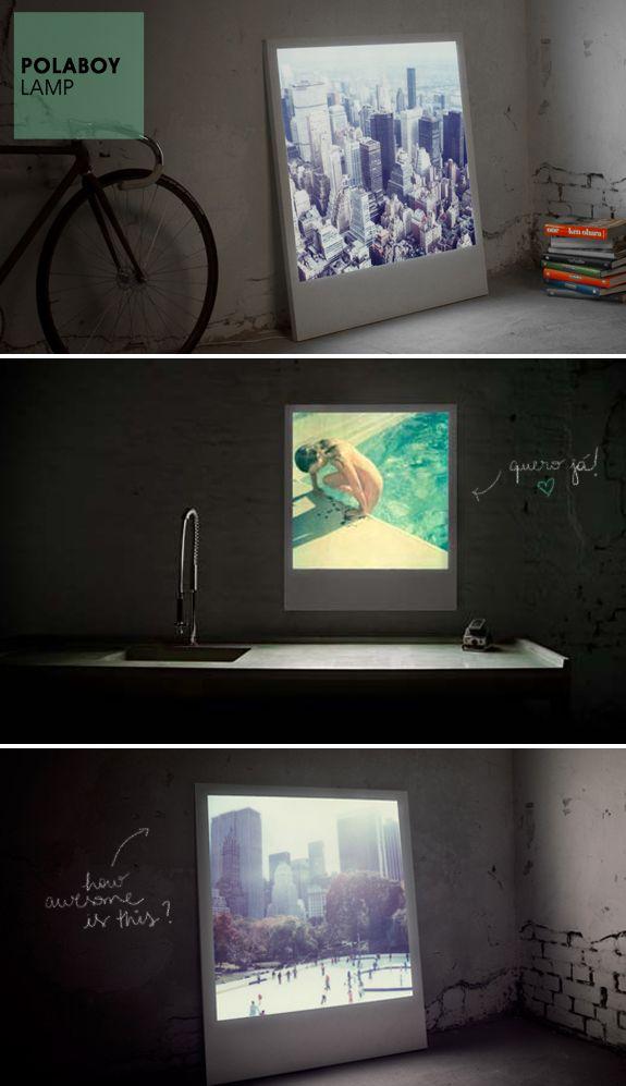 Polaboy Lamp: quadros de polaroids grandes e iluminadas