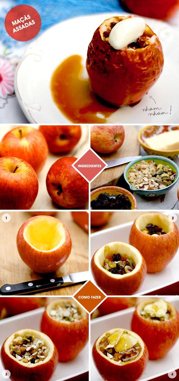 Cozinha da Matilde: macas assadas com uva passa, nuts, mel e sorvete Leticia Massula