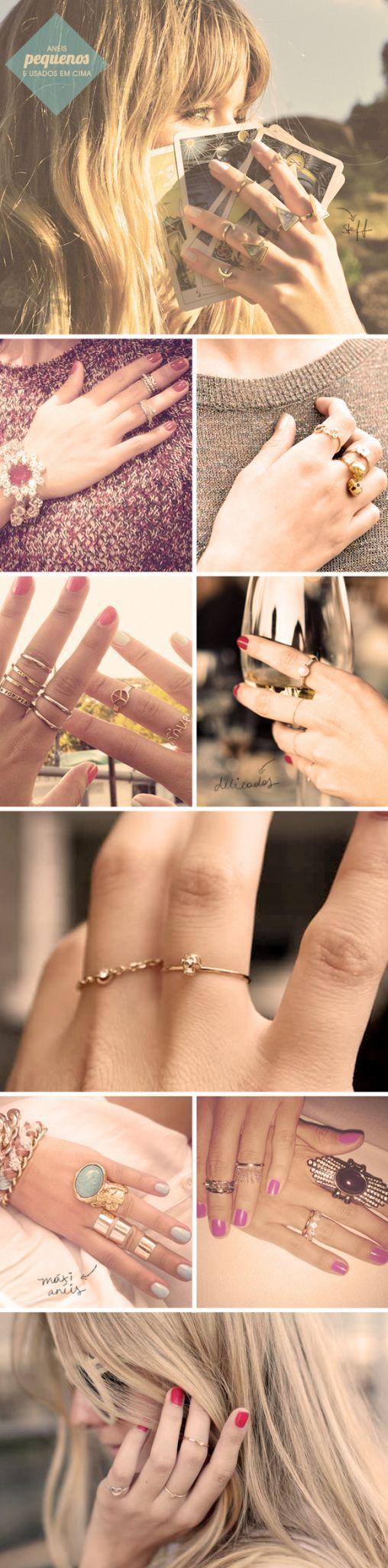 Tendência: anéis pequenos e usados em cima