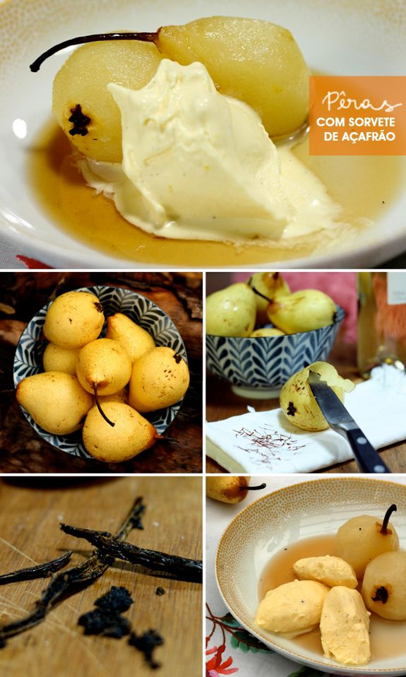 Cozinha da Matilde: pêra cozidas ao vinho com sorvete de açafrão e baunilha