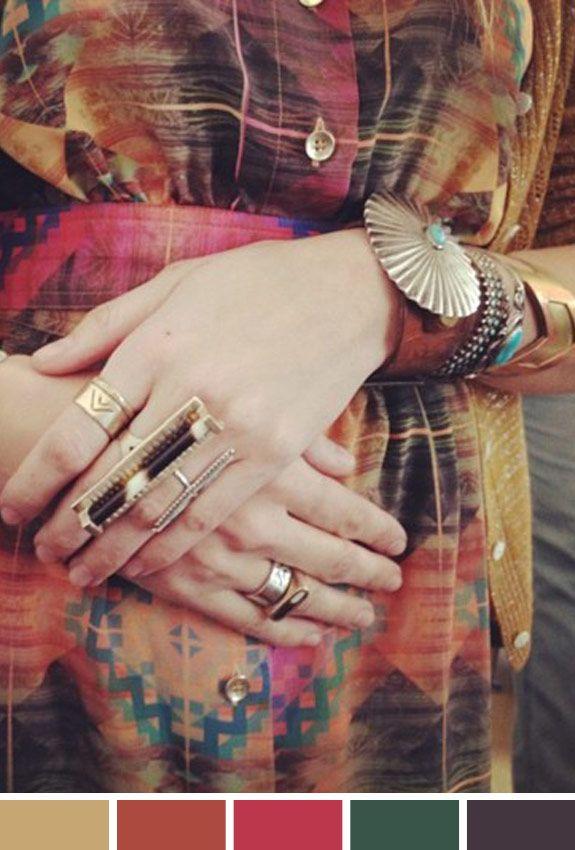 Inspiração do Dia: estampa + muita bijoux