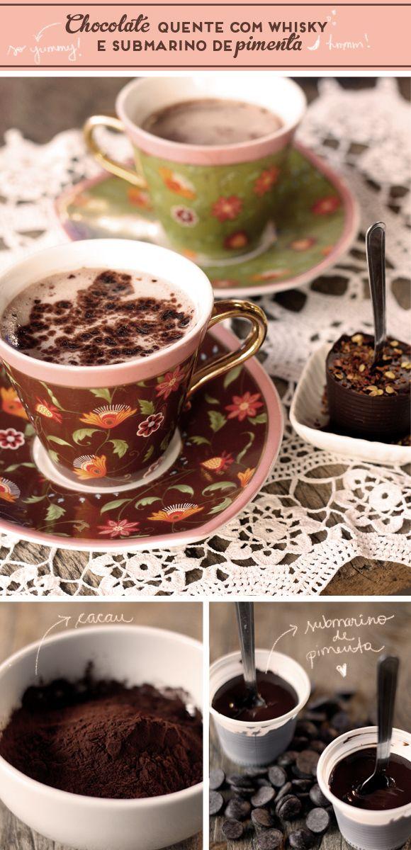 Receitas: chocolate quente com whisky e submarino de pimenta