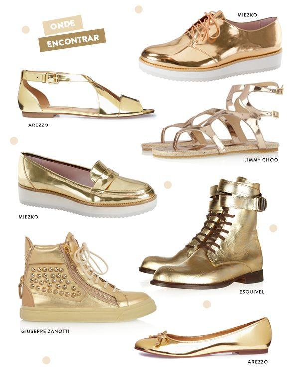 Tendência: sapatos dourados
